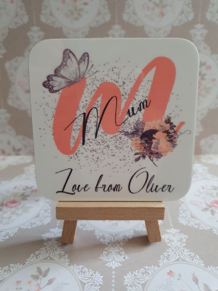 Mum Butterfly And Flowers Coaster